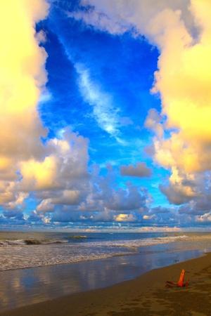 tuaran: Heavy cloud during sunset time at Mimpian Jadi Beach Resort, Tuaran, Sabah, Malaysia