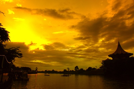 Sunset view of Waterfront at Kuching River, Kuching, Sarawak, Malaysia  photo