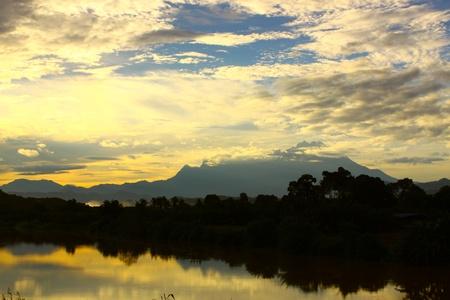 Mount Kinabalu view in the early morning from Tuaran Village, Tuaran, Sabah, Malaysia