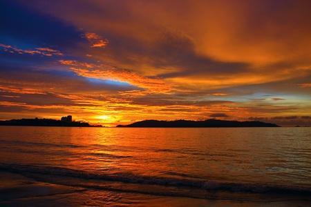 Panoramic view of sunset at Tanjung Lipat, Kota Kinabalu, Sabah, Malaysia photo