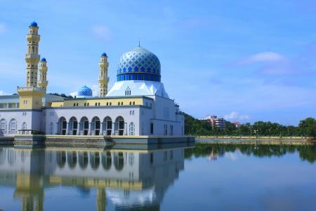 Floating mosque called Bandaraya Mosque at Likas, Kota Kinabalu, Sabah, Malaysia