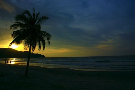 Panoramic view of sunset at Karambunai Beach Resort, Sepanggar, Kota Kinabalu, Sabah, Malaysia Stock Photo - 9134665