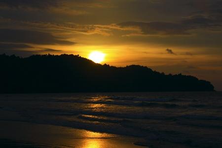 Panoramic view of sunset at Karambunai Beach Resort, Sepanggar, Kota Kinabalu, Sabah, Malaysia Stock Photo - 9134619