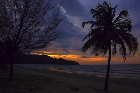 sepanggar: Panoramic view of sunset at Karambunai Beach Resort, Sepanggar, Kota Kinabalu, Sabah, Malaysia Stock Photo