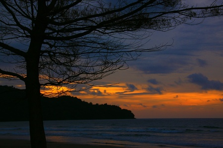 sepanggar: Panoramic view of sunset at Karambunai Beach Resort, Sepanggar, Kota Kinabalu, Sabah, Malaysia Stock Photo
