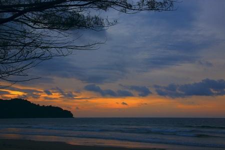 Panoramic view of sunset at Karambunai Beach Resort, Sepanggar, Kota Kinabalu, Sabah, Malaysia Stock Photo - 9134666