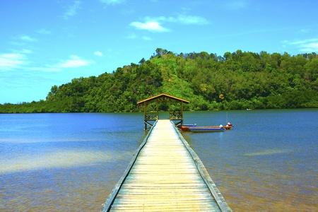 Jetty at Sulaman Village, Tuaran, Sabah for transportation from mainland to island
