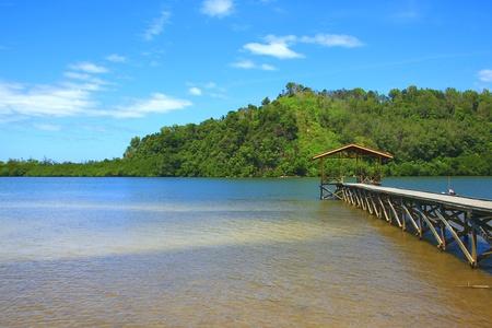 Boat jetty at Sulaman Village, Tuaran, Sabah Stock Photo