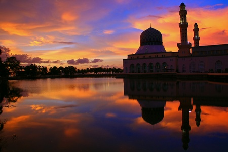 Floating mosque (Bandaraya Mosque, Kota Kinabalu) with sunset background