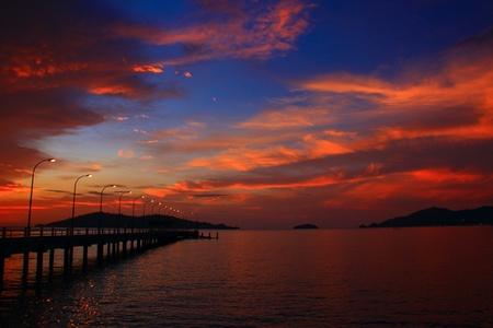 Sunset view at Marine Jetty UMS, Kota Kinabalu, Sabah, Malaysia Stock Photo - 9519940