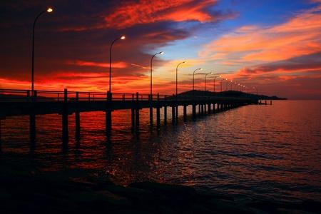 Sunset view at Marine Jetty UMS, Kota Kinabalu, Sabah, Malaysia photo