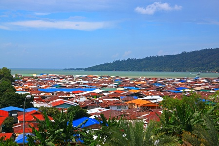 sandakan: Aerial view of Sim-SIm Water Village Sandakan, Sabah, Malaysia Stock Photo