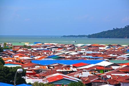 Aerial view of Sim-SIm Water Village Sandakan, Sabah, Malaysia Stock Photo