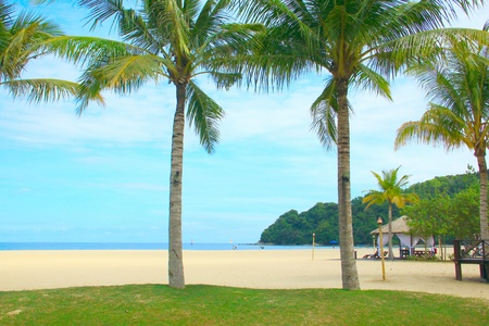 Vacation at Dalit Beach Tuaran, Sabah, Malaysia Stock Photo