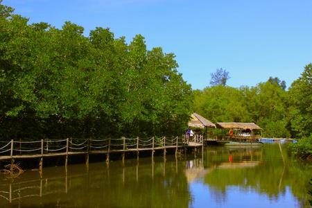 Jetty to Borneo Kelly Bay Beach surrounding by mangrove at Tuaran, Sabah, Malaysia