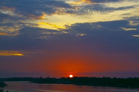 tuaran: Sunset view from Salut Bridge, Tuaran, Sabah, Malaysia Stock Photo