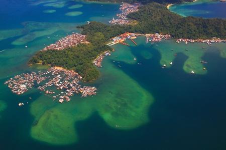 sabah: Aerial view of Gaya Island, Sabah, Malaysia