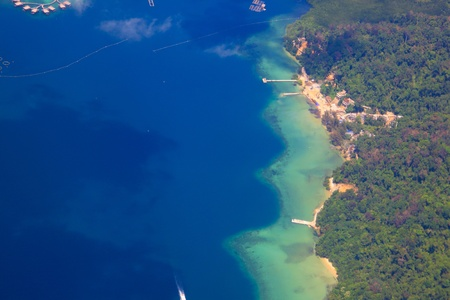 Aerial view of Gaya Island, Sabah, Malaysia
