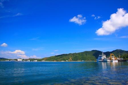 sepanggar port: Panoramic view of Sabah Port with blue sky at Sepanggar, Kota Kinabalu, Sabah, Malaysia Stock Photo