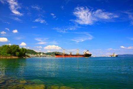 sabah: Panoramic view of Sabah Port with blue sky at Sepanggar, Kota Kinabalu, Sabah, Malaysia Stock Photo
