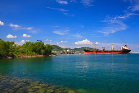 Panoramic view of Sabah Port with blue sky at Sepanggar, Kota Kinabalu, Sabah, Malaysia Stock Photo - 10336512