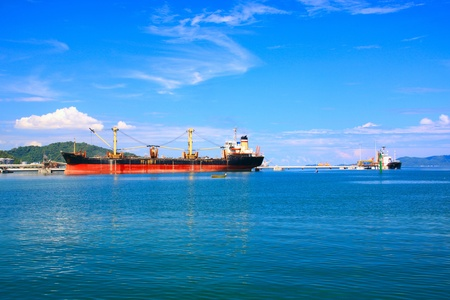 Panoramic view of Sabah Port with blue sky at Sepanggar, Kota Kinabalu, Sabah, Malaysia Stock Photo