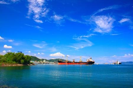 Panoramic view of Sabah Port with blue sky at Sepanggar, Kota Kinabalu, Sabah, Malaysia Stock Photo - 10336496