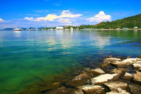 Panoramic view of Sabah Port with blue sky at Sepanggar, Kota Kinabalu, Sabah, Malaysia Stock Photo - 10358518