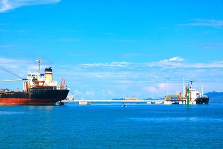 Panoramic view of Sabah Port with blue sky at Sepanggar, Kota Kinabalu, Sabah, Malaysia Stock Photo - 10358508