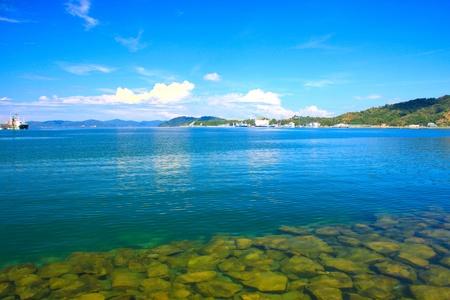 sepanggar: Panoramic view of Sabah Port with blue sky at Sepanggar, Kota Kinabalu, Sabah, Malaysia Stock Photo