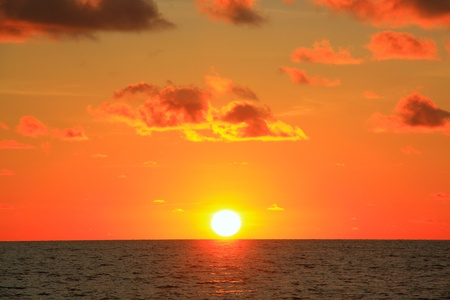 Sunset view at Tanjung Arhu Beach, Kota Kinabalu, Sabah, Malaysia photo