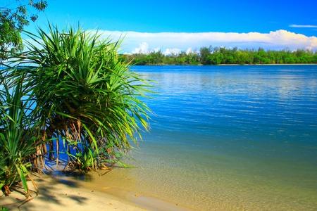 Bellissimo paesaggio vista alla spiaggia di Serusup, Tuaran, Sabah, Malaysia