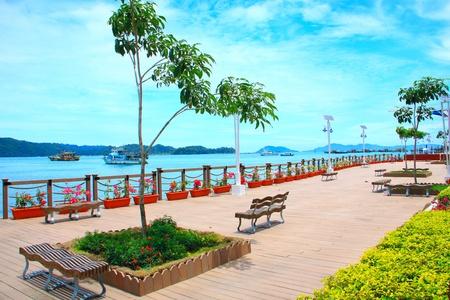 Beautiful view of Kota Kinabalu Waterfront, Sabah, Malaysia