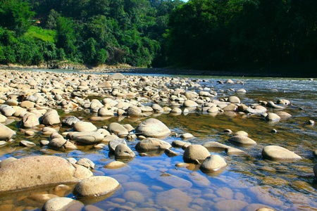 Beautiful landscape view at Kiulu, River, Tuaran, Sabah photo