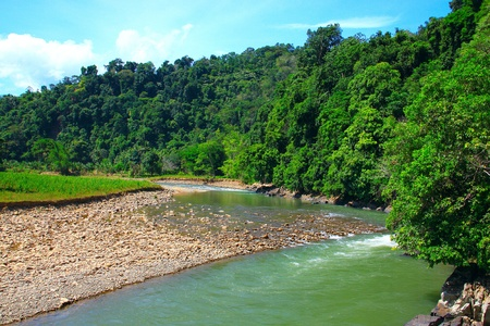 Beautiful landscape view at Kiulu, River, Tuaran, Sabah