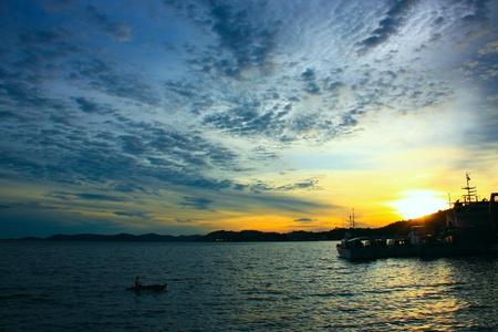 Beutiful sunset at Sepanggar Port, Sepanggar, Kota Kinabalu, Sabah Stock Photo - 11053071