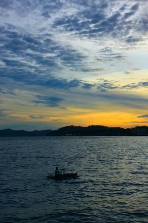 Beutiful sunset at Sepanggar Port, Sepanggar, Kota Kinabalu, Sabah Stock Photo - 11053171