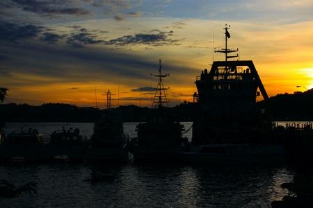 Beutiful sunset at Sepanggar Port, Sepanggar, Kota Kinabalu, Sabah Stock Photo - 11053073