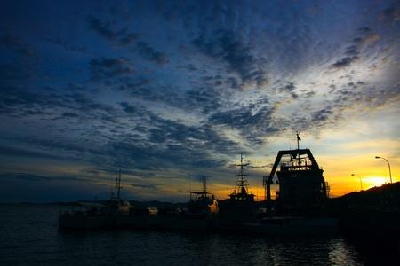 Beutiful sunset at Sepanggar Port, Sepanggar, Kota Kinabalu, Sabah Stock Photo - 11053075