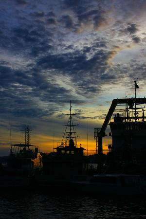 sepanggar: Beutiful sunset at Sepanggar Port, Sepanggar, Kota Kinabalu, Sabah Stock Photo