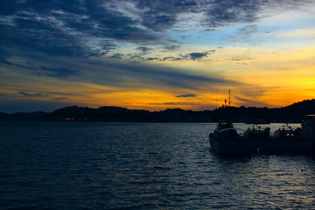 Beutiful sunset at Sepanggar Port, Sepanggar, Kota Kinabalu, Sabah Stock Photo - 11053169
