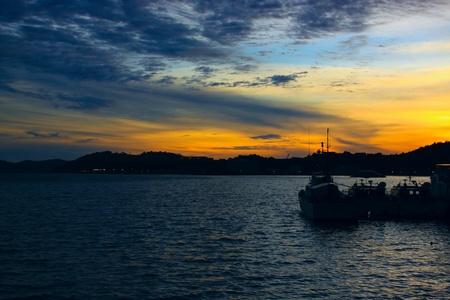 Beutiful sunset at Sepanggar Port, Sepanggar, Kota Kinabalu, Sabah Stock Photo - 11053169