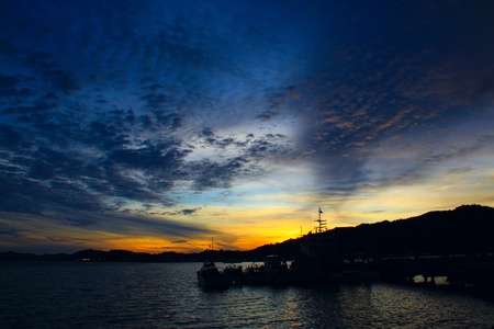 Beutiful sunset at Sepanggar Port, Sepanggar, Kota Kinabalu, Sabah photo