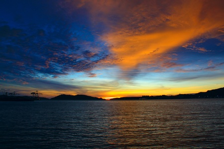 sepanggar: Beutiful sunset at Sepanggar Port, Sepanggar, Kota Kinabalu, Sabah Stock Photo