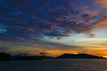 Beutiful sunset at Sepanggar Port, Sepanggar, Kota Kinabalu, Sabah Stock Photo - 11053082