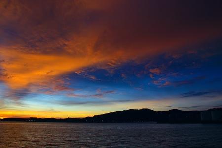 Beutiful sunset at Sepanggar Port, Sepanggar, Kota Kinabalu, Sabah Stock Photo - 11053080