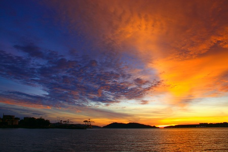 Beutiful sunset at Sepanggar Port, Sepanggar, Kota Kinabalu, Sabah Stock Photo - 11053172