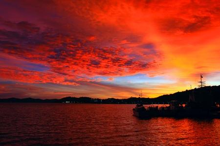 Beutiful sunset at Sepanggar Port, Sepanggar, Kota Kinabalu, Sabah Stock Photo - 11053083