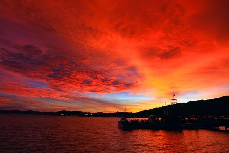 Beutiful sunset at Sepanggar Port, Sepanggar, Kota Kinabalu, Sabah Stock Photo - 11053084