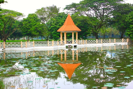 Panoramic view of public lake garden at Taiping, Perak, Malaysia photo